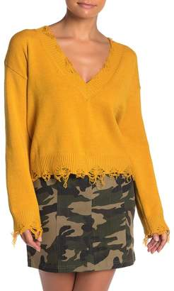 Wild Honey Distressed V-Neck Sweater
