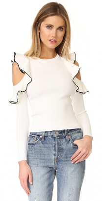 Whistles Tipped Detail Cold Shoulder Top $230 thestylecure.com