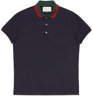 Cotton polo with Web collar $495 thestylecure.com