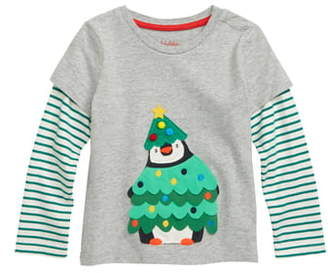 Boden Mini Penguin Fun Applique Layered Sleeve T-Shirt