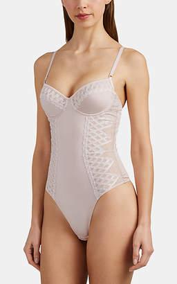 Cosabella Women's Envy Satin & Crosshatched-Mesh Bodysuit - Pink