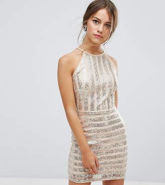 TFNC Petite High Neck Mini Dress In Striped Sequin