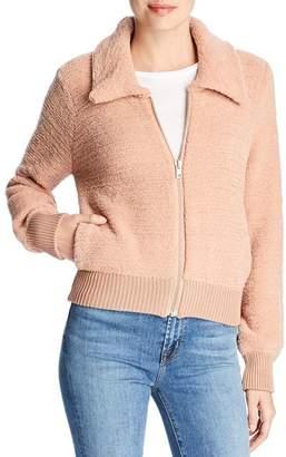 Marled Textured Knit Bomber Jacket