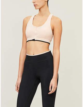 VAARA Poudre Black Stripe Cloe Zip Stretch-Jersey Sports Bra