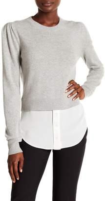 Veronica Beard Jensen Puff Sleeve Cashmere & Silk Combo Sweater