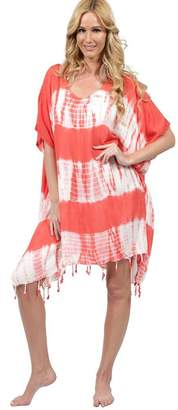 Ingear V Front Tie Dye Fringed Short Dress