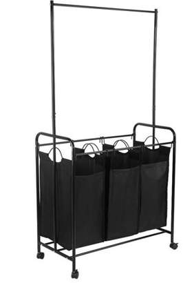 EECOO Laundry Hamper Sorter Cart with Clothes Rod, Rolling Mobile Heavy-Duty Laundry Hamper Sorter Cart with 3 Removable Bags, Hanging Bar, and Wheels