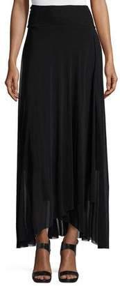 Fuzzi Asymmetric-Hem Tulle Maxi Skirt, Black $295 thestylecure.com