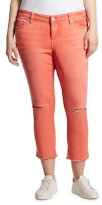 Slink Jeans, Plus Size Plus Distressed Cropped Skinny Jeans