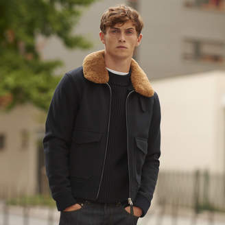 Sandro Aviator jacket with sheepskin collar