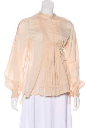 By Malene Birger Pleated Button-Up Blouse
