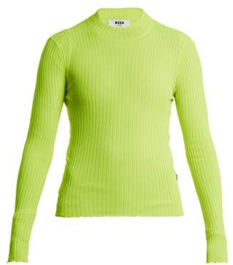 MSGM Ribbed Knit Top - Womens - Yellow