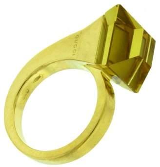 Gucci 18K Yellow Gold Cocktail Chiodo Lemon Quartz Ring Size 6.5