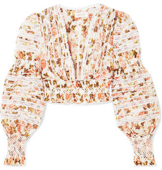 Zimmermann Radiate Cropped Smocked Floral-print Linen And Silk-blend Top