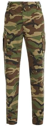 Balenciaga Camouflage Cotton Canvas Trousers - Mens - Khaki