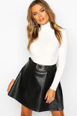 boohoo Western Buckle Belted Leather Look Skater Skirt