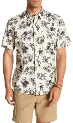 Natural Blue Short Sleeve Tropical Print Modern Fit Shirt