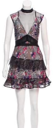 Self-Portrait Sheer Lace Embellished Mini Dress w/ Tags