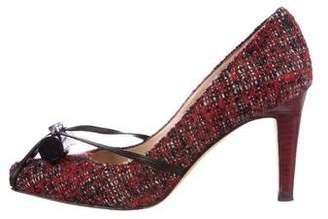 Manolo Blahnik Tweed Square-Toe Pumps