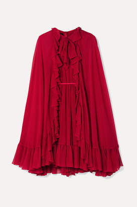 Giambattista Valli Cape-effect Ruffled Silk-georgette Dress - Red