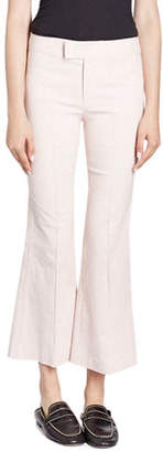 Isabel Marant Lyre Flat-Front Flared Crop Cotton-Blend Pants