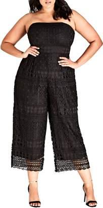 City Chic Crochet Strapless Jumpsuit