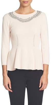 Women's Cece Embellished Neck Peplum Sweater $99 thestylecure.com
