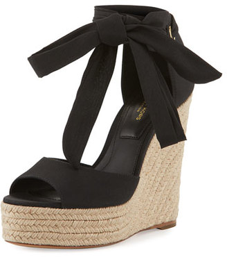 Michael Kors Embry Ankle-Wrap Wedge Sandal, Black $350 thestylecure.com