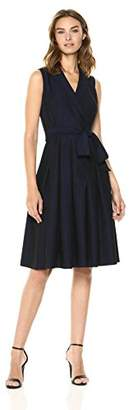 Anne Klein Women's Soft Denim Notch Collar Wrap Dress