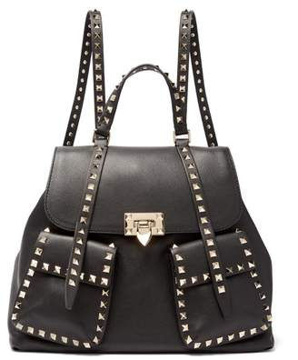Valentino Rockstud Leather Backpack - Womens - Black