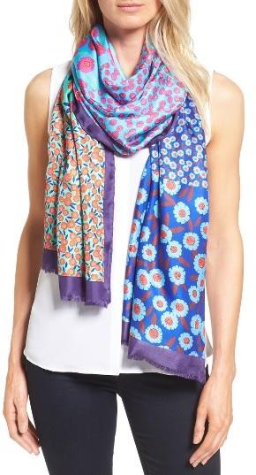 Kate SpadeWomen's Kate Spade New York Tangier Floral Tissue Weight Silk Oblong Scarf