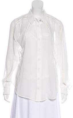 Andrew Marc Long Sleeve Sheer Blouse w/ Tags