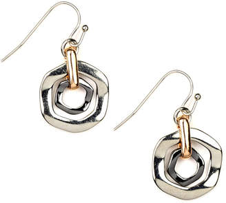 Nine West Earrings, Tri Tone Orbital Fish Hook Earrings