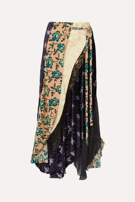 Chloé Asymmetric Paneled Printed Satin-jacquard, Velvet, Tulle And Crepe Skirt - Beige