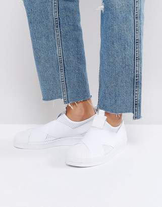 Adidas adidas Originals White Slip On Superstar Sneakers $85 thestylecure.com