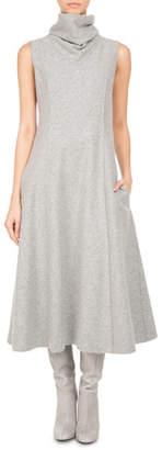Pascal Millet Sleeveless Wool Jersey Turtleneck Midi Dress, Gray
