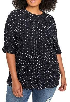 Addition Elle Love And Legend Plus Printed Roll-Up Sleeve Blouse