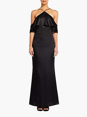 Adrianna Papell Cold Shoulder Frill Satin Dress, Black
