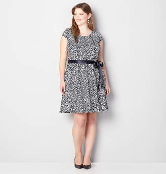 Avenue Seamed Puff Print Fit and Flare