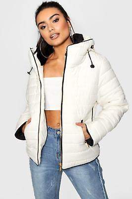 boohoo NEW Womens Quilted Jacket in Cream size Xl