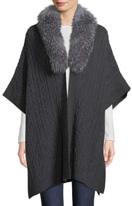 Neiman Marcus Luxury Cashmere Fur-Collar Cape