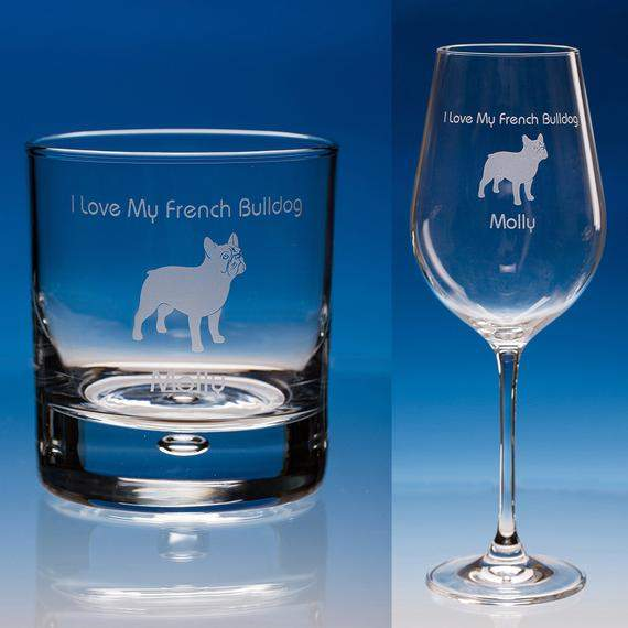 French Bulldog Wine Glass or Whisky Glass, Personalised, Dog Wine Glass, French Bulldog Gift, Bulldog Glass, Loving Glass, Whiskey Glass