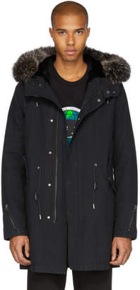 Yves Salomon Black Fur-Lined Parka