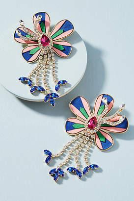 Shourouk Alacantara Flower Drop Earrings