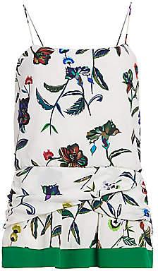 Derek Lam 10 Crosby Women's Twist-Detail Floral Silk Camisole - Size 0