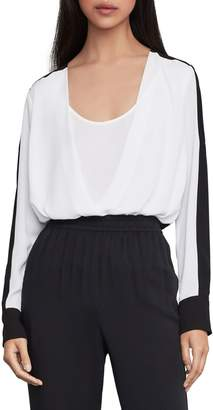 BCBGMAXAZRIA Two-Tone Faux Wrap Top