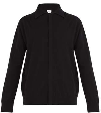 Deveaux - Point Collar Cashmere Cardigan - Mens - Black