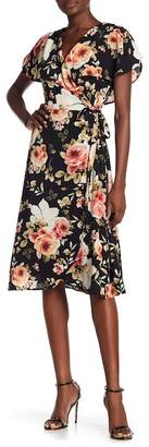 Spirit of Grace Floral Print Surplice Wrap Dress
