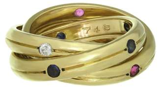 Constellation Trinity 18K Yellow Gold Diamond Ruby Sapphire Ring Size 6.75