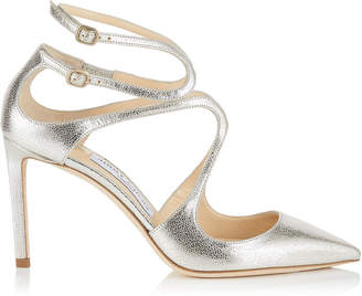Jimmy Choo LANCER 85 Champagne Glitter Leather Pointy Toe Pumps